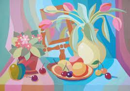 ДХШ Дипломные работы  Декоративный натюрморт с тюльпанами 2012 г Гуашь преп Онуприенко Т М