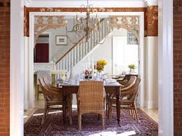 eclectic dining room with stylish chandelier
