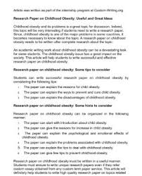 research paper on obesity the writing center research paper on obesity
