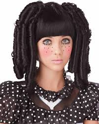 black baby doll curls with bangs wig wig party makeup