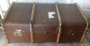 vintage steamer trunk shabby chic storage coffee table ottoman blanket box