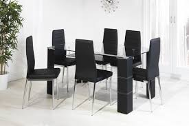 greenwich glass dining table with 6 black chairs