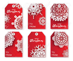 Red Christmas Labels With Origami White Snowflake Ready To Use