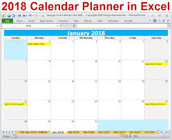 2018 Calendar Year In Excel Spreadsheet Download And Printable