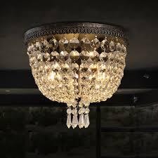 vintage round canopy clear crystal flushmount ceiling light bronze flush mount