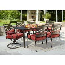 patio dining: middletown  piece patio dining set with chili cushions