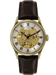 rotary mens gold skeleton watch gs02941 03