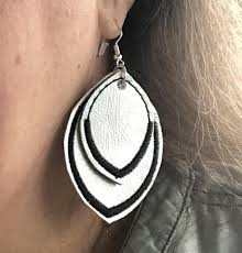 Machine Embroidery Jewelry Designs Satin Border Leaf Layers Earrings And Pendant Embroidery