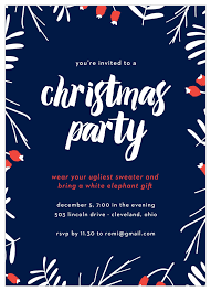 Photo Party Invitations Snow Cherries Christmas Party Invitations