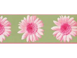 Flower Wall Paper Border Green Pink Flower Wallpaper Border