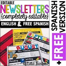 Teachers Newsletter Templates Completely Editable Monthly Newsletter Templates English Plus Free Spanish