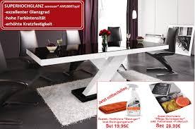 Design Esstisch He 888 Schwarz Weiß Hochglanz Ausziehbar 160 210