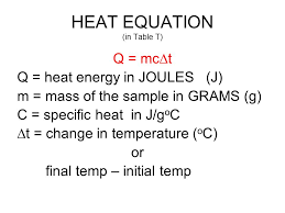 heat equation in table t