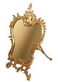 table mirror: antique nineteenth century bronze standing table mirror