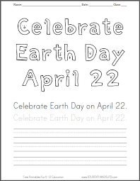 Small Picture Celebrate EARTH DAY April 22 coloring sheet with handwriting