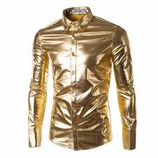 <b>Men Trend Night Club</b> Coated Metallic Gold Silver blue stage ...