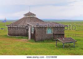 Traditional house in steppe, near Ogii lake, Arkhangai province, Mongolia -  Stock Photo
