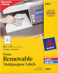 Avery White Removable Full Sheet Labels 6465