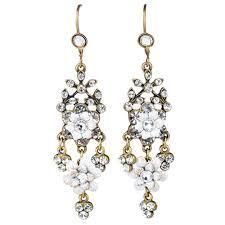 michal negrin flower chandelier earrings white mix