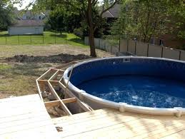 above ground swimming pool with deck. Beautiful Swimming Above Ground Pool Deck Kit Image Of Kits Vinyl Works  Intended Above Ground Swimming Pool With Deck E