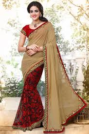Half Half Designer Saree Net And Georgette Fabric Half Half Designer Saree In Red And Beige With Embroidery Designs And Alluring Blouse