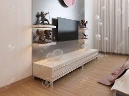 Tv Regale Und Ein Schrank Unter Dem Fernseher Im Schlafzimmer 3d