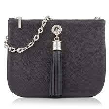 sarah haran ivy clutch bag black leather silver hardware