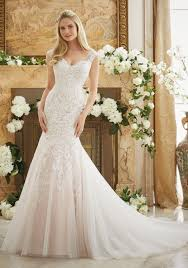 Vintage Lace On Soft Net Bridal Dress Style 2888 Morilee