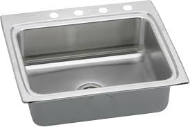 elkay lrad2522552 25 inch top mount single bowl stainless steel sink with 18 gauge 5 1 2 inch bowl depth 22 inch length ada compliant and u channel type