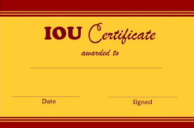 Select And Print Iou Certificates And Cards Fresh Designs I Owe You