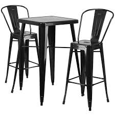 23 75 square black metal indoor outdoor bar table set with 2 stools with backs