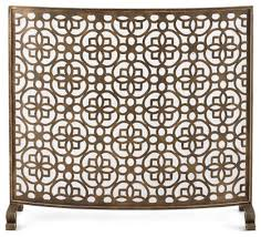 Image Hand Forged Art Deco Gold Fretwork Single Panel Fire Screen Curved Midcentury Fireplace Houzz Art Deco Gold Fretwork Single Panel Fire Screen Curved Midcentury