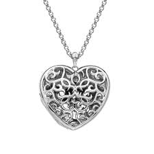pendant hot diamonds large heart filigree locket dp669