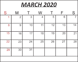 Month Of March Calendar 2020 Free February March 2020 Calendar Printable Template