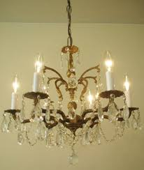 vintage brass crystals chandelier 6 arms lights hanging ceiling fixture spain