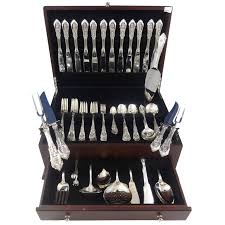 rose point by wallace sterling silver flatware set for 12 service 110 pieces for