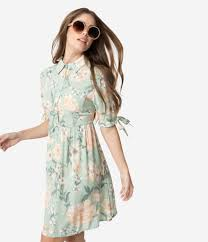 Light Green Fit And Flare Dress 1960s Style Light Sage Green Blush Pink Floral Fit Flare