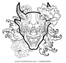 japanese for mask japanese demons mask tattoo design full stock vector royalty free