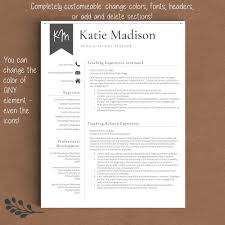 Colorful Resume Templates Teacher Resume Template The Katie Madison Get Landed 46