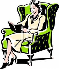 a colorful retro style cartoon of a woman reading a book royalty free clipart picture