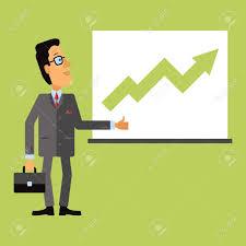 Joyful Business Man Look At A Chart Or Graph Rising Arrow Representing