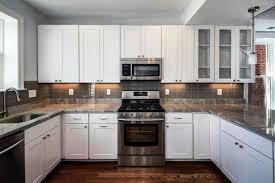 white grey kitchen design and decoration using dark granite