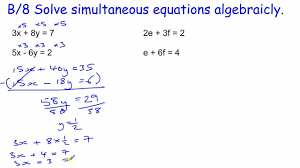 gcse core maths skills revision b 8 simultaneous equations elimination method