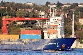 Novorossiysk'den demir alan RoRo Sparta II yük gemisi askeri kargo ...