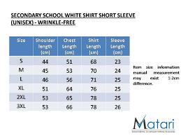 Wrinkle Free Secondary School Uniform White Shirt Short