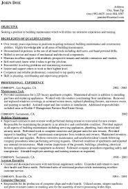 Clever Career Objective Building Maintenance Resume Examples Also  Highlights Of Qualifications 10 Building Maintenance Resume Examples ...