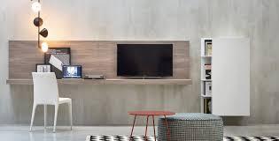 wooden desk  contemporary  wallmounted  with shelf  elle
