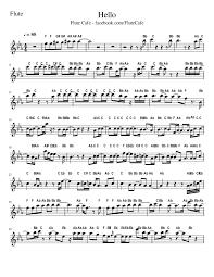 adele sheet music flute cafe hello by adele flute sheet music