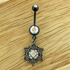 Black Flower Navel Ring