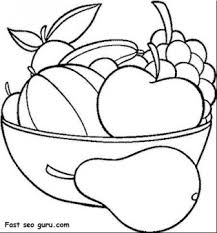 Small Picture Printable Fruits Pear Grape Watermelon and apple coloring in pages